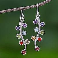 Multi-gemstone dangle earrings, 'Rainbow Buds' - Thai Sterling Silver Dangle Earrings with 7 Different Gems