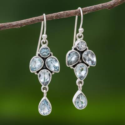 Blue topaz dangle earrings, 'Cool Sparkle' - Thai Sparkling Blue Topaz & Sterling Silver Dangle Earrings