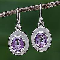 Amethyst dangle earrings, 'Oval Halo' - Thai Modern 3 Ct Amethyst Sterling Silver Dangle Earrings