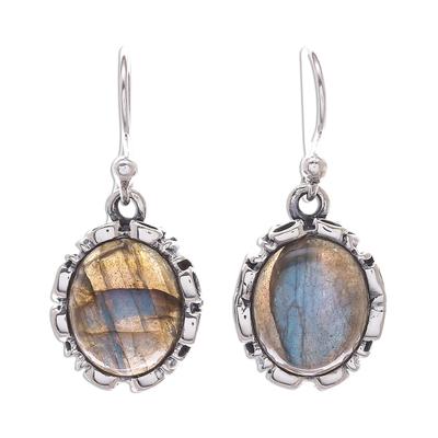 Thai Labradorite and Sterling Silver Dangle Earrings