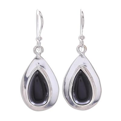 Thai Modern Teardrop Black Onyx and Sterling Silver Earrings