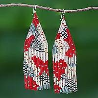 Beaded waterfall earrings, 'Amazing Waterfall in Red' - Dramatic Long Beaded Waterfall Earrings