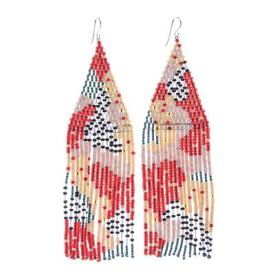 Beaded waterfall earrings, 'Amazing Waterfall in Red' - Dramatic Long Beaded Waterfall Earrings