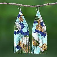 Beaded waterfall earrings, 'Amazing Waterfall in Blue' - Stunning Hand Beaded Waterfall Earrings