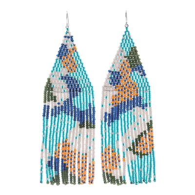 Beaded waterfall earrings, 'Amazing Waterfall in Blue' - Stunning Hand Beaded Waterfall Earrings