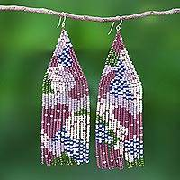 Beaded waterfall earrings, 'Amazing Waterfall in Purple'