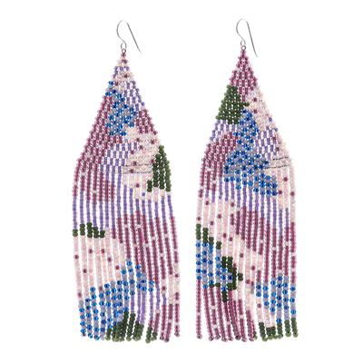 Beaded waterfall earrings, 'Amazing Waterfall in Purple' - Artisan Crafted Long Beaded Waterfall Earrings in Purple