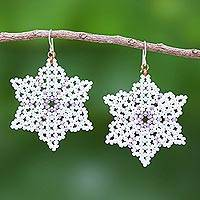 Beaded dangle earrings, 'Unique Creation in White' - White Snowflake Dangle Earrings from Thailand