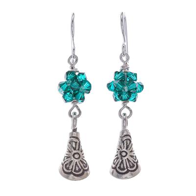 Emerald Green Beaded 950 Silver Earrings