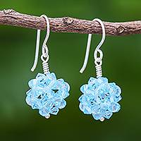 Glass beaded dangle earrings, 'Sky Sparkle' - Sky Blue Beaded Earrings with Sterling Hooks