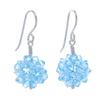 Glass beaded dangle earrings, 'Sky Sparkle' - Sky Blue Beaded Earrings with Sterling Hooks