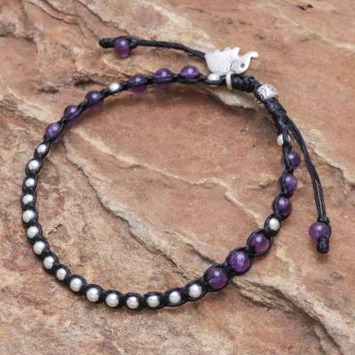 Sterling silver and amethyst beaded charm bracelet, 'Lilac Elephant' - Adjustable Amethyst and Sterling Silver Bracelet