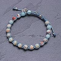 Jasper beaded charm bracelet, 'Blue Planet' - Flower Charm Jasper Beaded Bracelet from Thailand