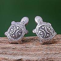 Silver stud earrings, 'Thai Turtles' - Cute 950 Silver Turtle Stud Earrings