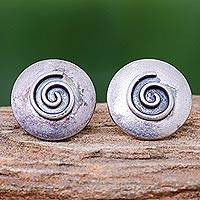 Silver button earrings, 'Lanna Spiral' - 950 Silver Spiral Motif Button Earrings