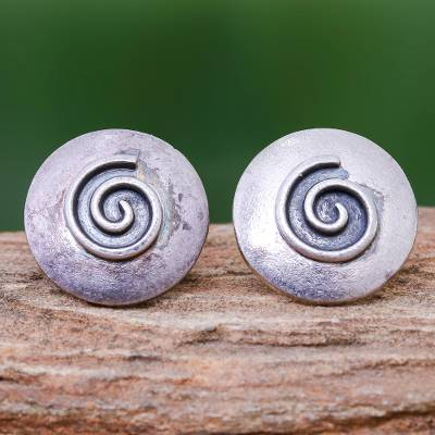 Silver button earrings, Lanna Spiral