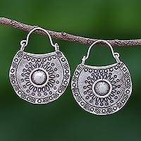 Silver hoop earrings, 'Hill Tribe Curve' - Hill Tribe Stamped 950 Silver Earrings