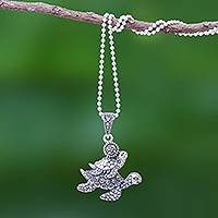 Marcasite pendant necklace, 'Turtle Ride' - Sterling Silver and Marcasite Turtle Pendant Necklace