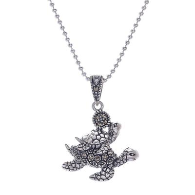 Marcasite pendant necklace, 'Turtle Ride' - Sterling Silver and Marcasite Turtle Pendant Necklace