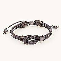 Leather unity bracelet, 'Harmony and Unity' - Thai Handmade Brown Leather Cord Unity Bracelet