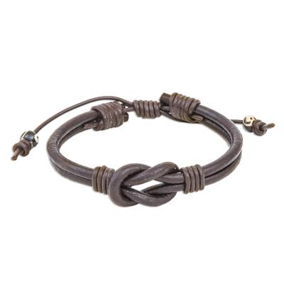 Leather unity bracelet, 'Harmony and Unity' - Thai Handmade Brown Leather Cord Unity Bracelet