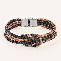 Leather braided unity bracelet, 'Nostalgia Unity' - Handmade Brown & Black Leather Braid Unity Bracelet