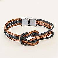 Leather braided wristband bracelet, 'Unity and Nostalgia' - Thai Brown Leather Braid & Black Cord Unity Bracelet