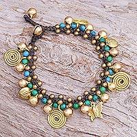 Serpentine and brass beaded charm bracelet, 'Fanciful Garden' - Brass and Serpentine Beaded Charm Bracelet