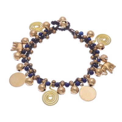 Handmade Bracelet with Lapis Lazuli and Brass Charms