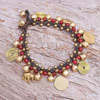 Quartz and brass beaded charm bracelet, 'Elephant Farm' - Red Quartz and Brass Beaded Charm Bracelet