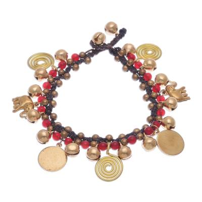 Quartz and brass beaded charm bracelet, 'Elephant Farm' - Red Quartz and Brass Beaded Charm Bracelet