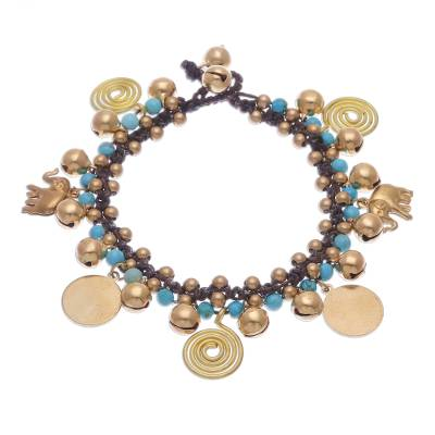 Blue Calcite and Brass Elephant Charm Bracelet