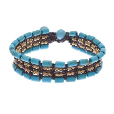 Recon Turquoise and Brass Wristband Bracelet