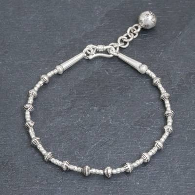 Silver beaded bracelet, 'Flower Ball' - Silver Link Bracelet with Extender Chain from Thailand