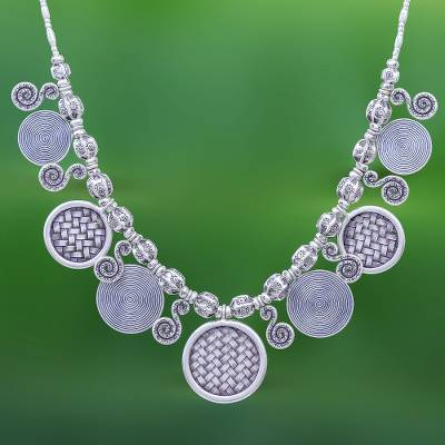 Silver pendant necklace, 'Woven Coin' - Hill Tribe Coin Link Silver Necklace