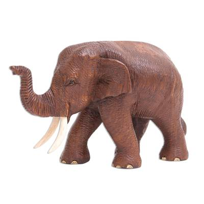 Artisan Crafted Teak Wood Elephant Statuette (Right)