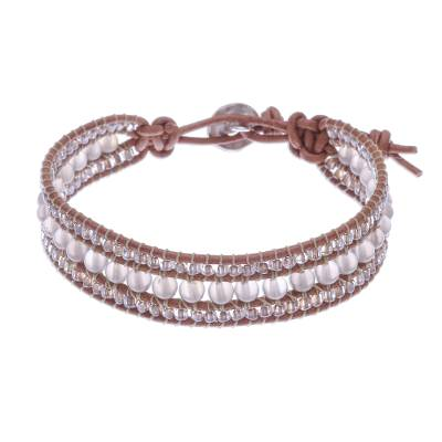 Chalcedony and Glass Bead Leather Bracelet