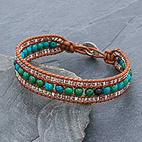 Serpentine and leather beaded wristband bracelet, 'Sidetracked' - Leather Bracelet with Serpentine and Glass Beads