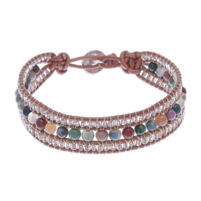Multicolored Agate and Leather Bracelet