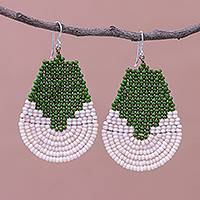 Beaded dangle earrings, 'Si Thep Temple in Green'