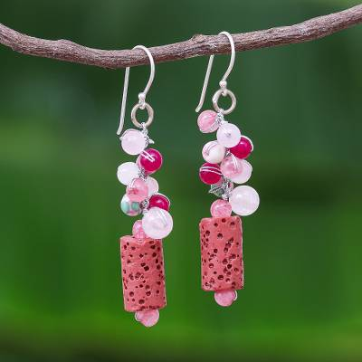 Agate beaded dangle earrings, 'Sweetness in Nature' - Pink Agate Quartz Bead Cluster Lava Stone Dangle Earrings