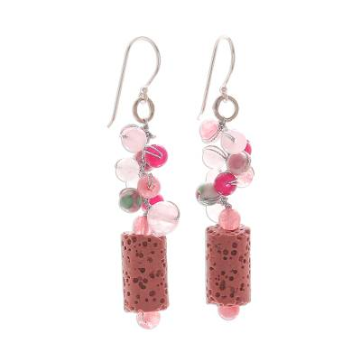 Pink Agate Quartz Bead Cluster Lava Stone Dangle Earrings