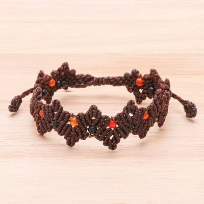 Carnelian and onyx beaded macrame bracelet, 'Zigzag in Dark Brown' - Dark Brown Macrame Carnelian Bead Bracelet
