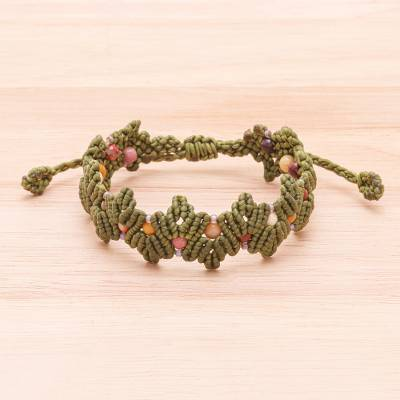 Jasper beaded macrame bracelet, Zigzag in Green