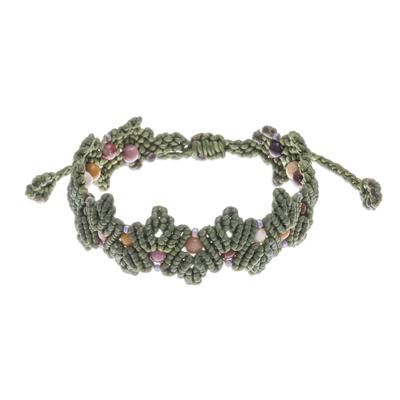 Green Macrame Jasper Bead Bracelet