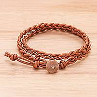 Jasper and leather wrap bracelet, 'Genuine Cool in Brown' - Braided Leather Wrap Bracelet with Jasper Button
