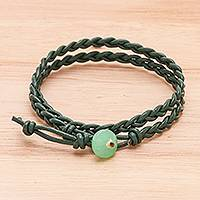 Quartz and leather wrap bracelet, 'Genuine Cool in Green' - Braided Leather Wrap Bracelet with Quartz Button