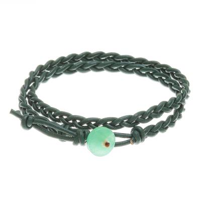 Braided Leather Wrap Bracelet with Quartz Button
