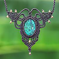 Serpentine macrame pendant necklace, 'Bohemian Grandeur' - Macrame Pendant Necklace with Serpentine