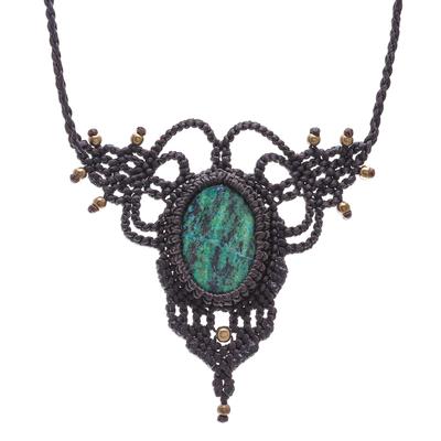 Serpentine macrame pendant necklace, 'Bohemian Grandeur' - Macrame Pendant Necklace with Serpentine